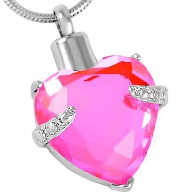 Stainless-Steel-Heart-Cremation-Pendant-Urn-Jewelry-Holds-Pet-Ashes-Human-Pink