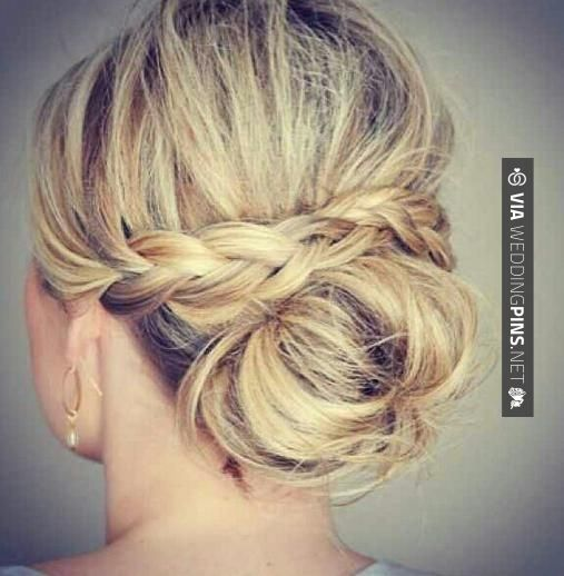 Brilliant - Side Bun Wedding Hair This is good idea. I'm just guessing how this was done. She put braids on each side behind the ear, then overlapped braids, and secured with hair pins underneath. Make a bun on the bottom. Hair spray all over. Will try it sometime to see if my guess is correct. | CHECK OUT MORE AWESOME PHOTOS OF TASTY Side Bun Wedding Hair OVER AT WEDDINGPINS.NET | #sidebunweddinghair #naturalhair #weddinghairstyles #weddinghair #hair #stylesforlonghair #hair