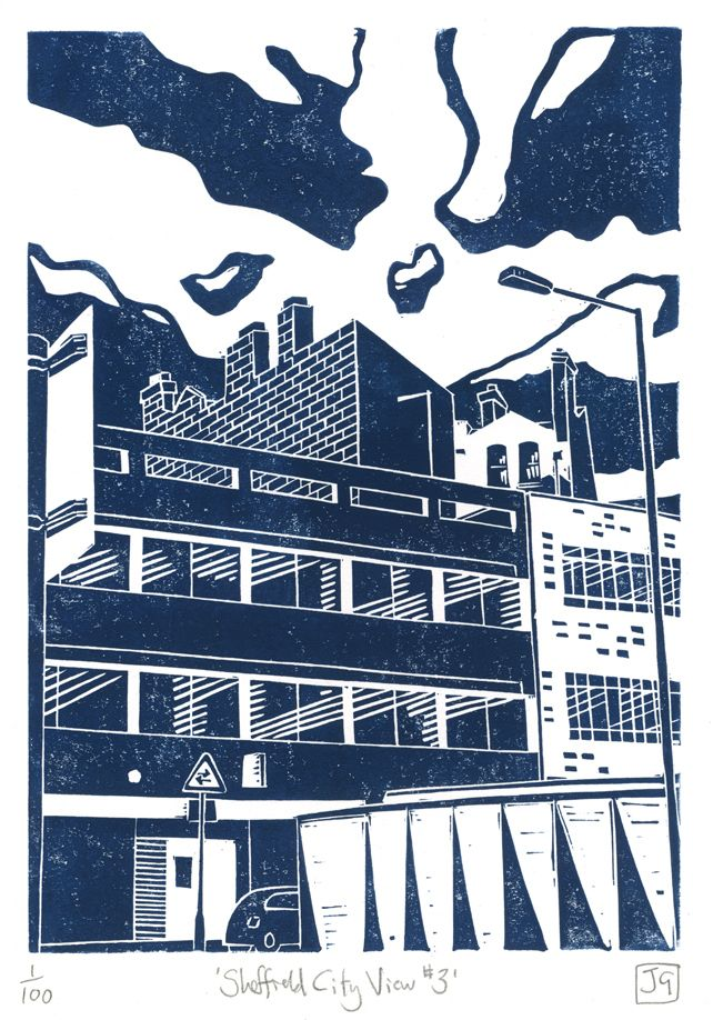 Sheffield City View No.3 linocut print by James Green