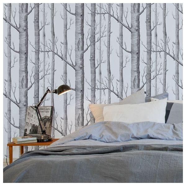 papier peint cole and son woods silver foil u0026 black