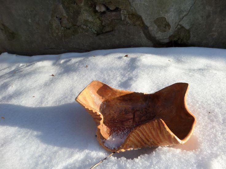 miska z gliny,szkliwiona cracle