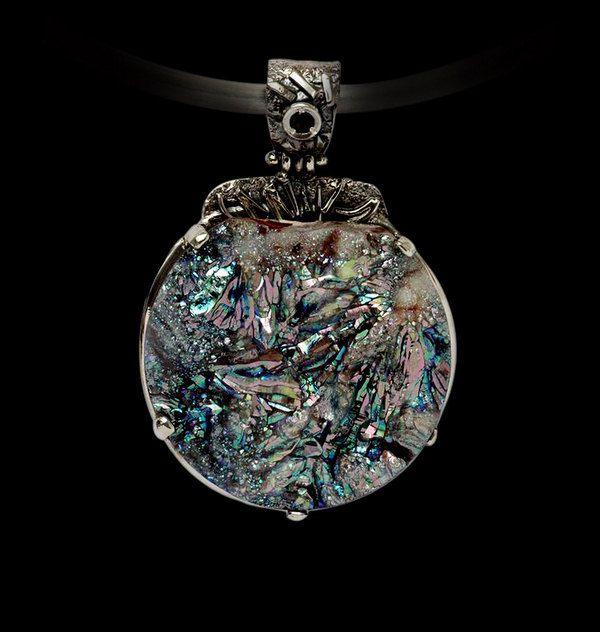 RAINBOW DRUZY PENDANT, Handcrafted Pendant, Gemstone Pendant, Artisan Jewelry, 925 Sterling Silver , Multi Stone Pendant by AlenaZenaJewelry on Etsy
