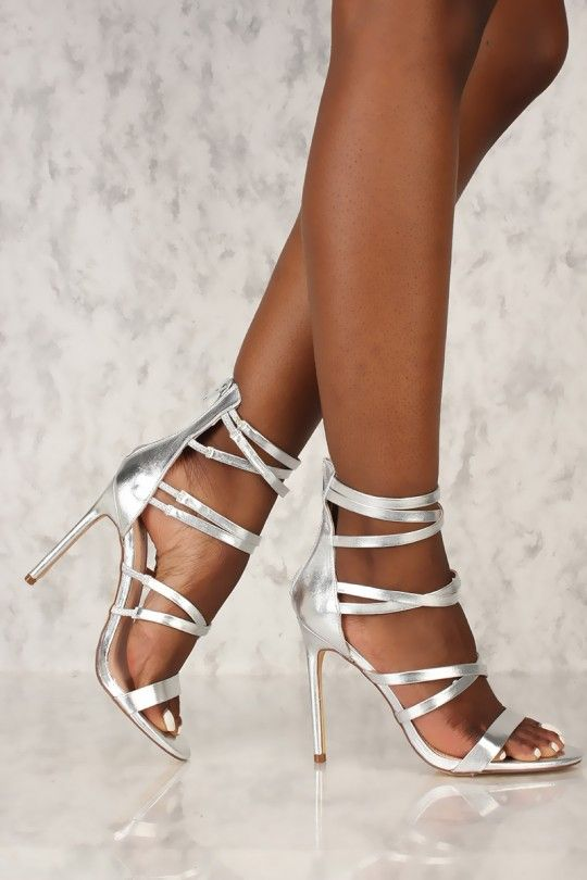65029ed9396 Sexy Silver Strappy Open Toe Single Sole High Heels Faux Leather