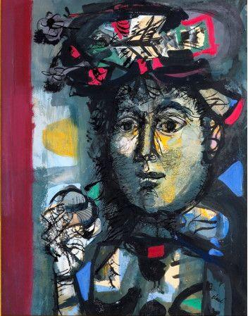 Antoni Clavé Sanmartí (1813 - 2005). Jeune femme au chapeau. OPERA GALLERY PARÍS