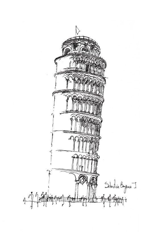 O croqui como método essencial de representação,Torre inclinada / Pisa. Imagem © Sebastián Bayona Jaramillo