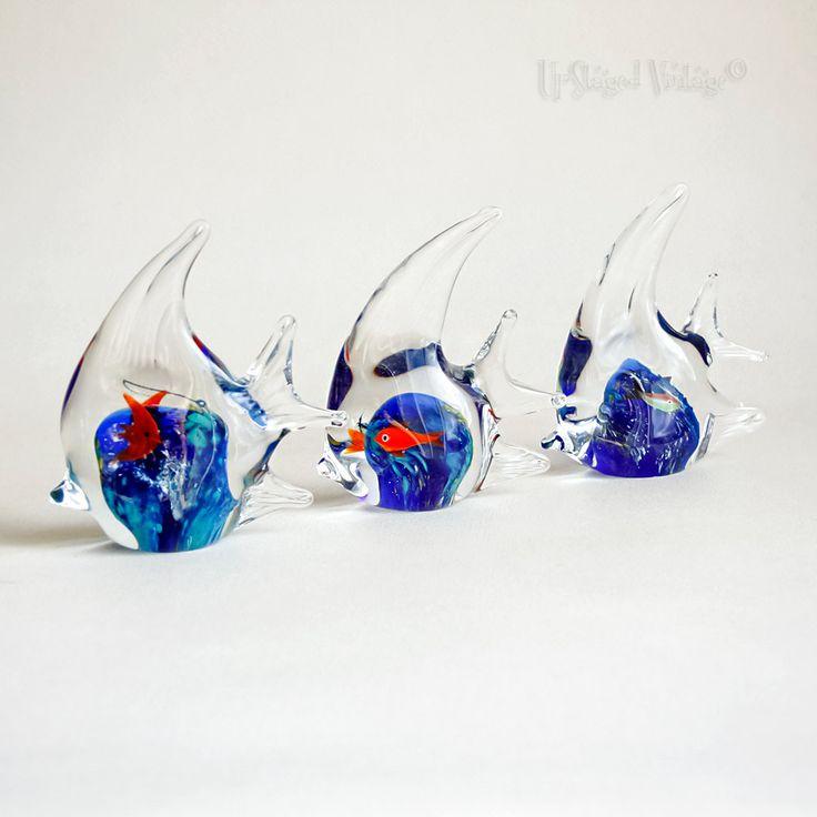 Three 3 x vintage retro 1970s angel fish murano art glass for Glass fish ornaments