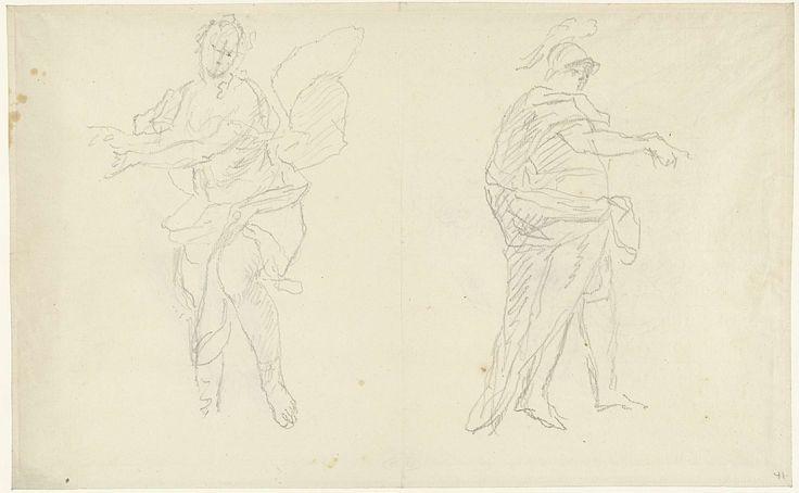 anoniem | Twee schetsen van een vrouw en een krijger, possibly Dionys van Nijmegen, 1715 - 1798 |