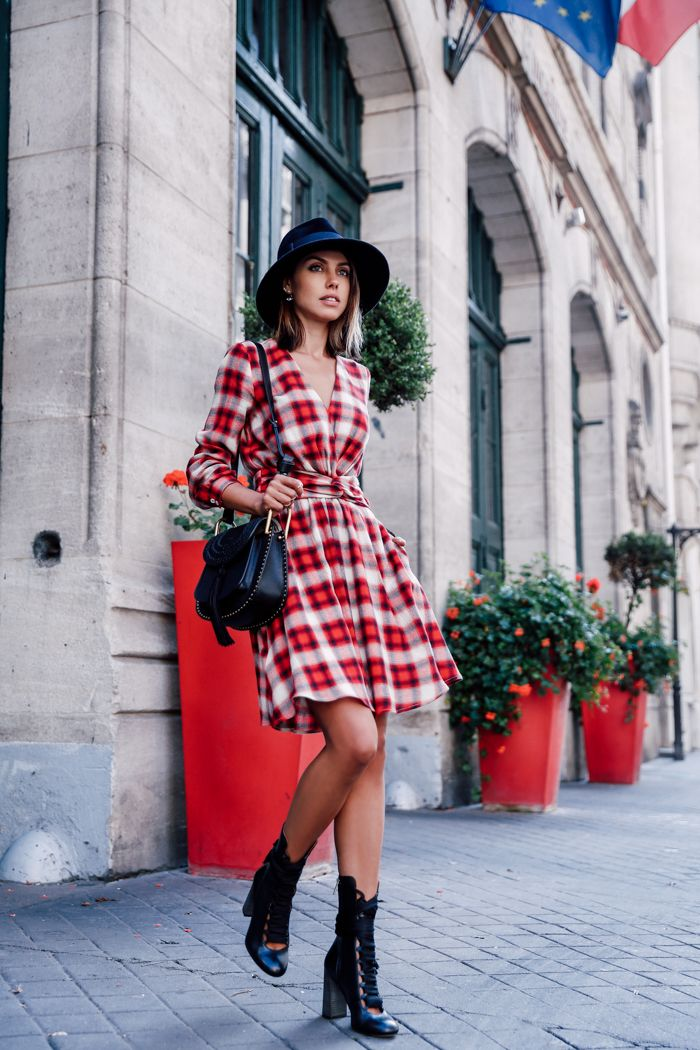 plaid dress with boots