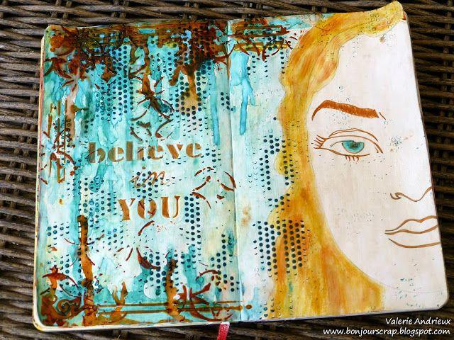 Create an art journal spread with a face stencil