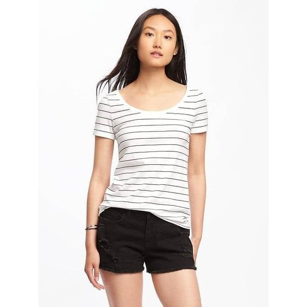 Old Navy Womens Classic Semi Fitted Tee ($12) ❤ liked on Polyvore featuring tops, t-shirts, petite, white, white scoop neck t shirt, short sleeve t shirt, stretchy t shirts, jersey t shirt and short sleeve tee