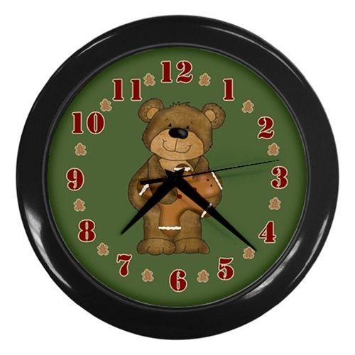 Bear with Gingerbread Man Wall Clock