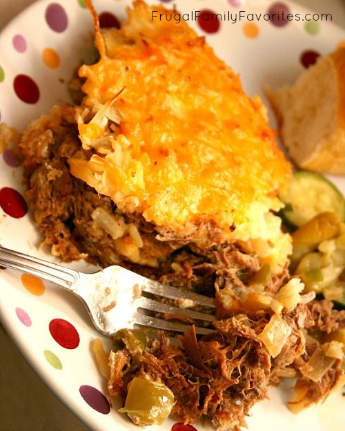 Great way to use up leftover roast. Could work with ground beef too.
