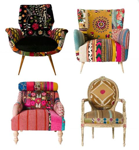 happy chairsFunky Chairs, Sweets, Vintage Fabrics, House, Boho, Furniture, Comfy Chairs, Colors Chairs, Freedom Towers