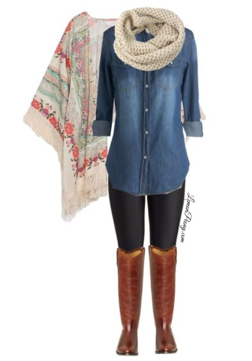 Comfortable Fall Casual Outfit! Floral Kimono, Denim Shirt, and Tall Boots! The Kimono is only $10 Shipped and the Scarf only $6 Shipped!