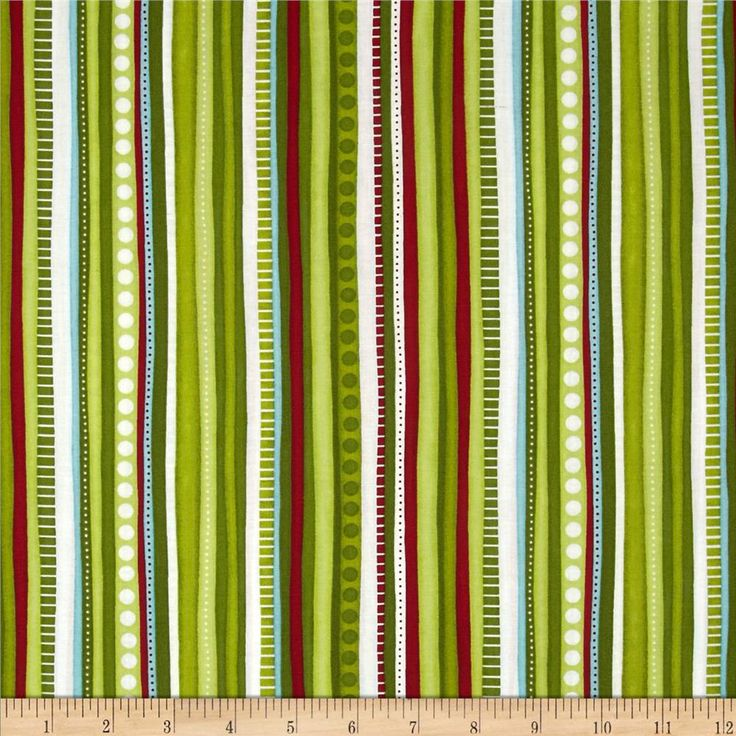 Christmas Pure & Simple Multi Stripe Bamboo from @fabricdotcom  Designed by Nancy Halvorsen for Benartex, this cotton print is perfect for quilting, apparel and home decor accents.  Colors include white, red, aqua and shades of green.  This stripe is printed parallel to the selvedge.