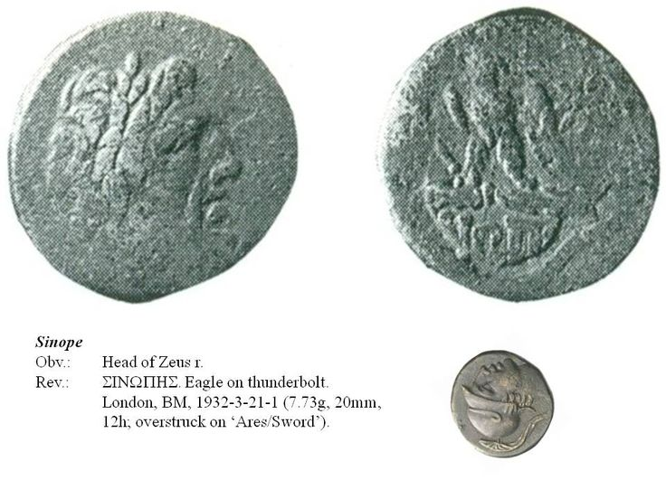 Greek overstrike. Paphlagonia. Sinope. Head of Zeus/Eagle on thunderbolt on Head of Ares/Sword. Time of Mithradates.