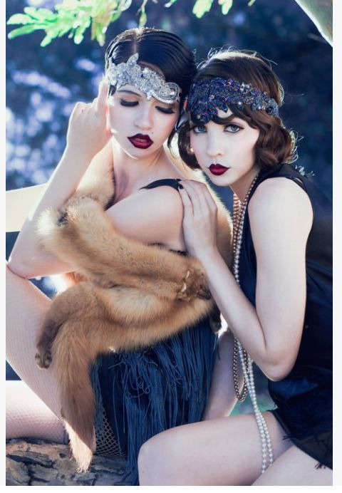 flappers - i thought a wide headband would look funny, but these girls make it look hot. love the red red lips too!!!