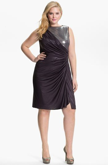 Adrianna Papell Sequined Jersey Drape Dress (Plus) available at #Nordstrom