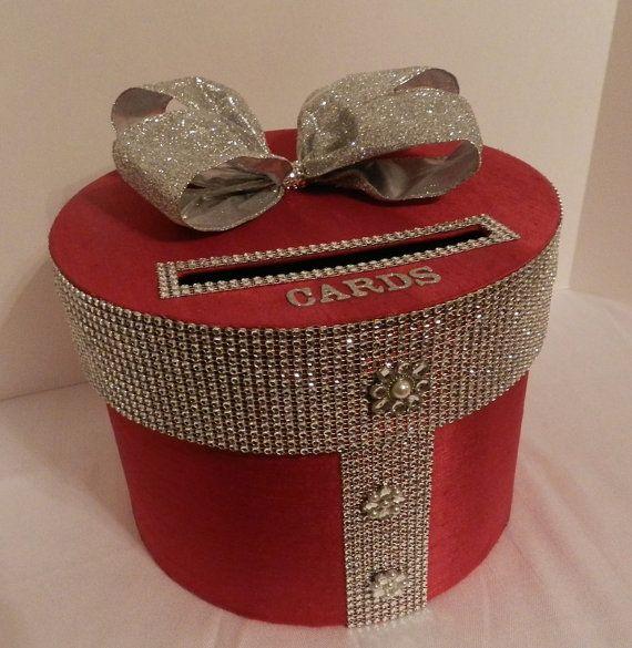 Wedding Card Box  Red & Silver  Bling Mesh Wrap by SweetJonesin, $85.00