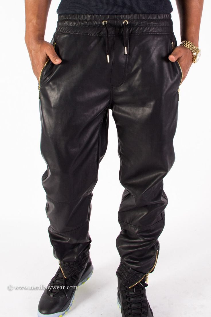 Faux Leather Jeans Mens