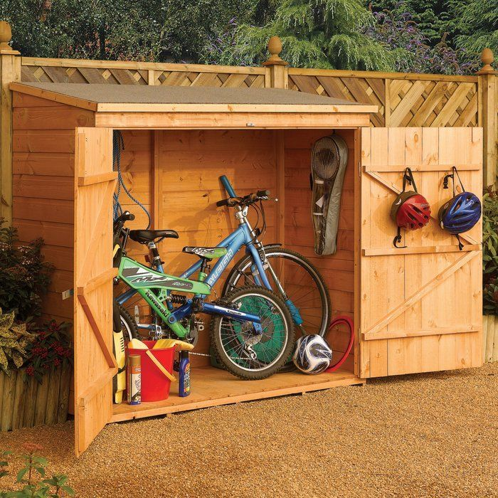 "The Wall-Store Storage Shed is the ideal outdoor storage solution for such items as bikes and garden tools. With double doors for easy access, the Wall store looks good as well, as it's constructed from 0.5"" shiplap cladding with a dipped honey-brown finish. The Wall store is weatherproof due to a mineral felt roof and the timber is also pressure treated to ensure longevity."