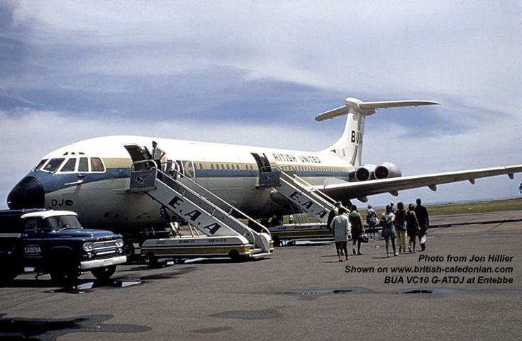 British United Airways ('BUA') Vickers Standard VC10 (Series 1100) G-ATDJ (c/n: 825) during passenger boarding at Entebbe in Uganda, on the shores of lake Victoria, during 1968.