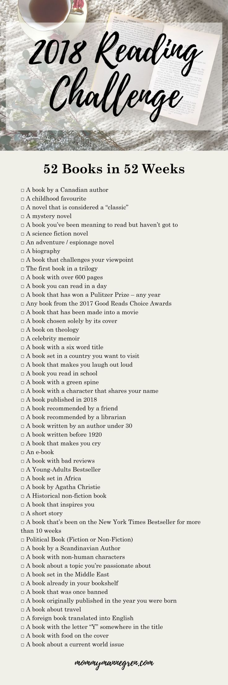 Not really for the library... but I do need a librarians suggestion! 2018 Reading List