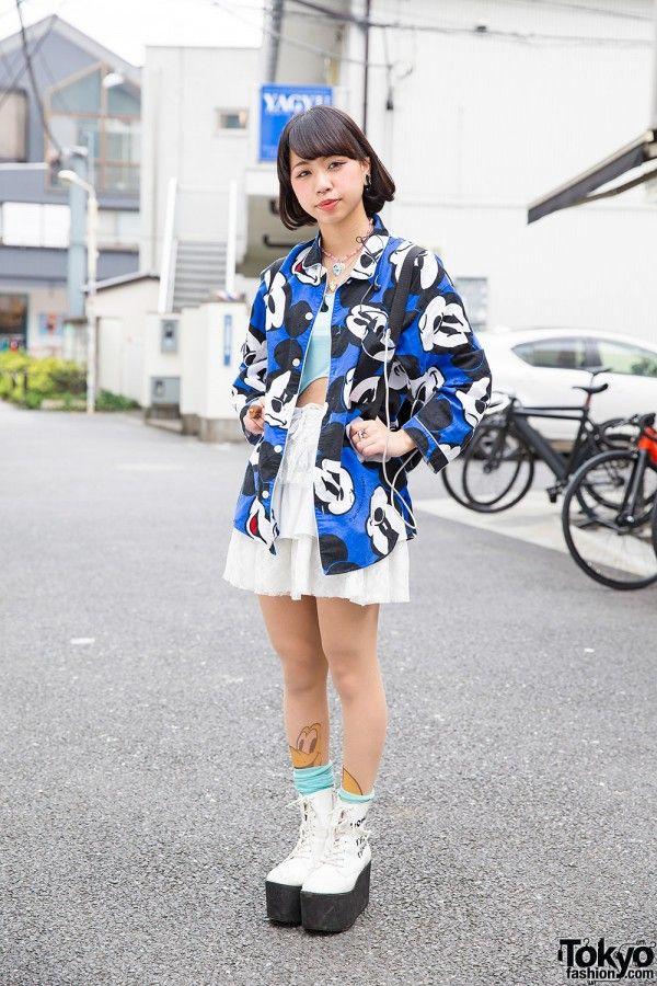 Harajuku Street Style w/ Mickey Mouse, Pluto Tights & Smiley Face Bag (Tokyo Fashion, 2015)