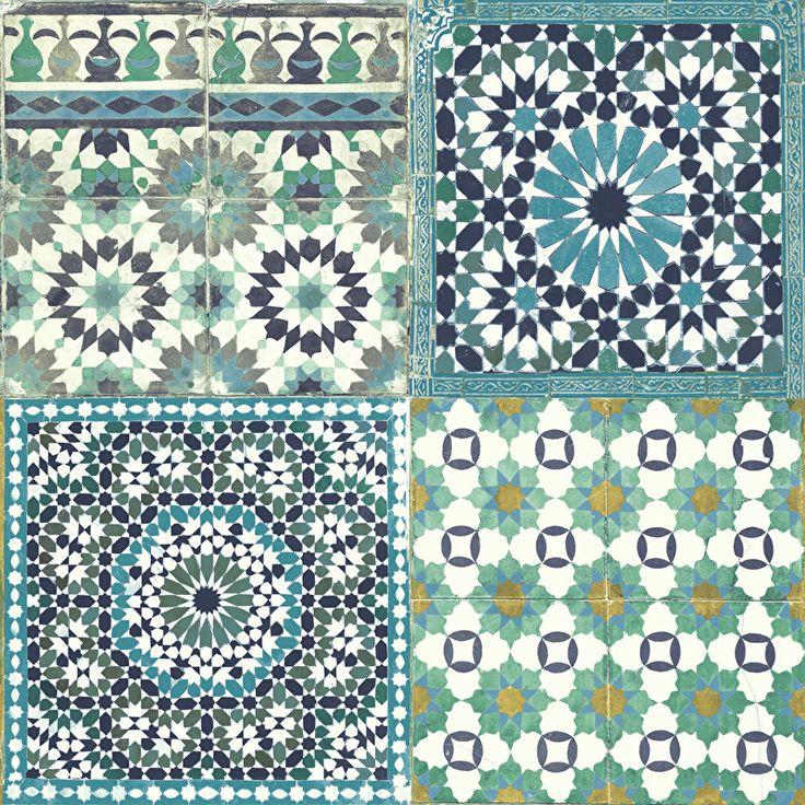 Behang Met Portugese Tegel: Oosters Tegeltjesmotief Behang Groen Blauw BA 2503