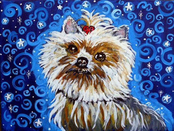 Yorkie Yorkshire Dog Fun Folk Art Whimsical by reniebritenbucher