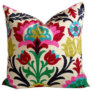 Floral pillow cover, multi colors, damask, Desert Flower Santa Maria with Zipper | Cushion Cut Decor cushioncutdecor.com #houzz
