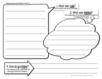 Common Core Standards Graphic Organizers for English/Language Arts Reading Grades 6, 7, 8 - Covers Fiction & Non-Fiction