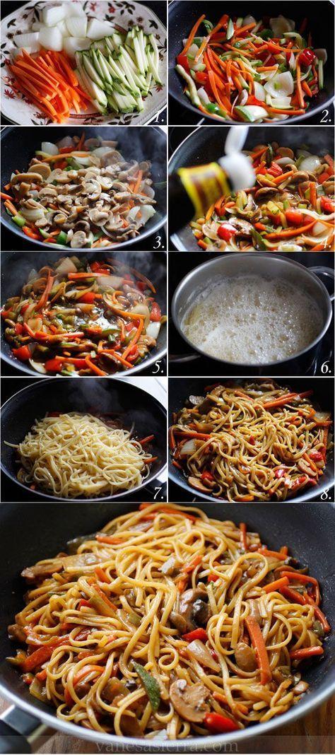 Traditional Tallarines con verduras, paso a paso (receta china)..., ,