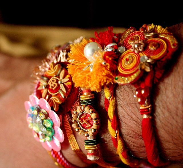 "bracelets called ""rakhi"" received for the north Indian hindu festival Raksha Bandhan."