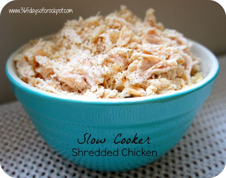 365 Days of Slow Cooking: Recipe for Shredded Chicken in the Slow Cooker (crockpot).  delicious just as it is.  super easy, and makes a ton - more than enough for two full meals, and leftovers besides.  useful to have on hand for other recipes.
