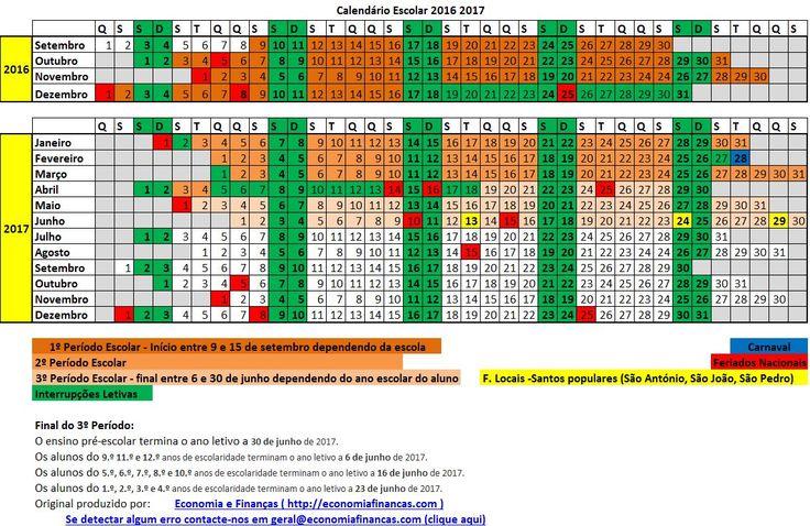 Calendário Escolar 2016 2017 para impressão em Excel                                                                                                                                                     Mais