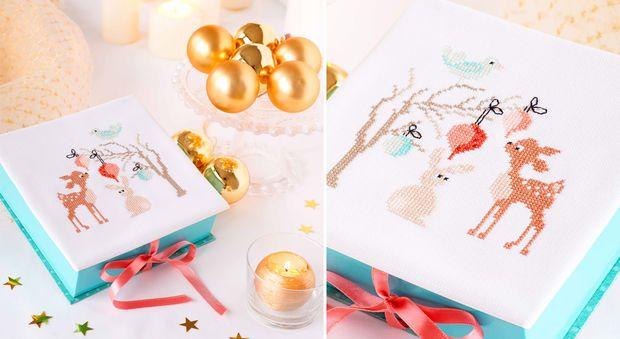 Les animaux de la forêt La biche, le lapin et les oiseaux de la forêt sont à broder sur une petite boîte à bijoux, surune carte de voeuxou même dans un cadre grâce à cette charmante grille de broderie à imprimer.