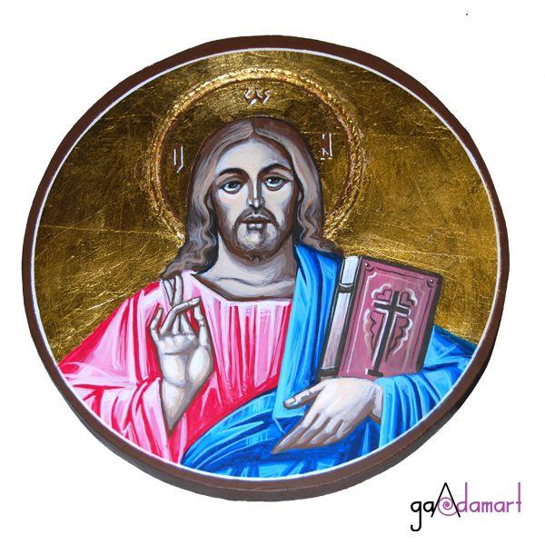 Icoana unicat pictata pe lemn, cu foita de schlagmetal aurie, reprezentandu-L pe Iisus Hristos