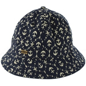 Serpico Hat in Navy Anchor from OBEY - Traditional Greek fisherman's style hat.  Made from heavy waxed cotton canvas, muted navy colourway featuring all over anchor print in white.  This hat is well suited to both guys and girls and comes in one size to fit all. $49