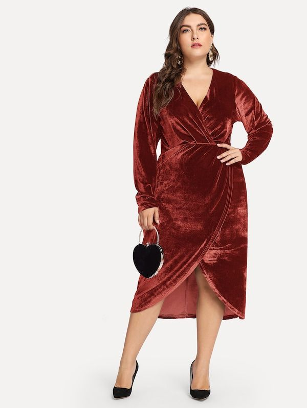 c9525b8f82 Plus Plunge Neck Wrap Velvet Dress -SheIn(Sheinside) | Curvy ...
