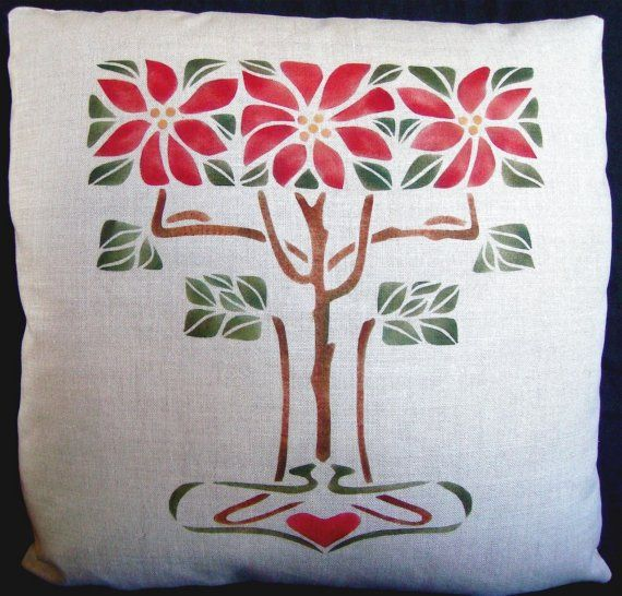 Hand Stenciled Poinsettias Pillow,  Arts and Crafts, Craftsman. $60.00, via Etsy. Our hand stenciled Poinsettia pillow measures 18 inches by 18 inches and is filled with an oversized down/feather insert for extra loft and firmness. Stitched closed at base. Crafted on 100% Belgium Linen. May be washed (remove pillow insert prior to washing) or dry cleaned.