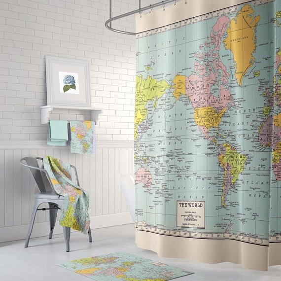 Merveilleux World Map Shower Curtain Historical Colorful Vintage Map