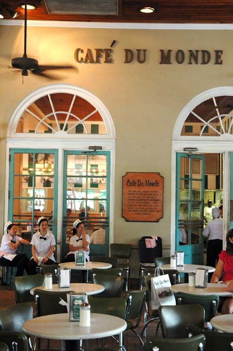 Cafe du Monde Original cafe in French Market. Open 24 hours a day, cash only. Touristy, but the coffee and beignets live up to the hype.