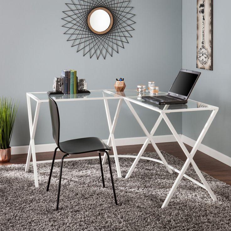 Southern Enterprises Aaron Metal / Glass L-Shape Corner Desk - White - HO6523