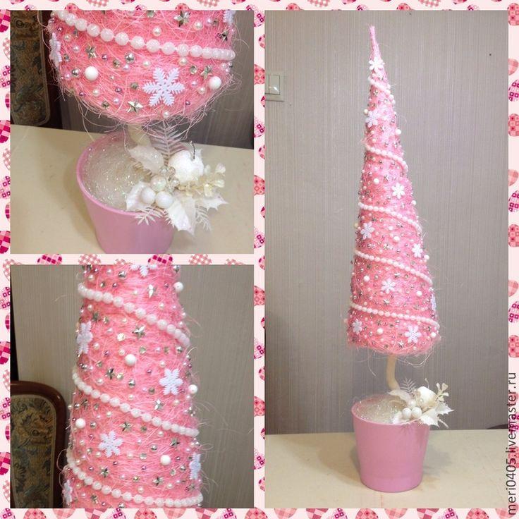 Купить елка из сизаля,новогодний топиарий,Розовые сны - розовый, елка из сизаля, новогодний топиарий