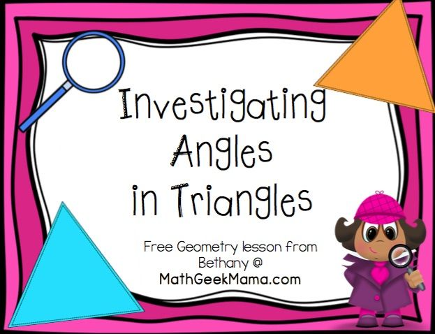 This hands-on geometry lesson is a fun introduction to the relationships within triangles! This guided math lesson introduces students to two geometry properties: The sum of the interior angles is equal to 180 degrees An exterior angle is equal to the two opposite interior angles Included in this download: Teaching tips Student handout Answer key