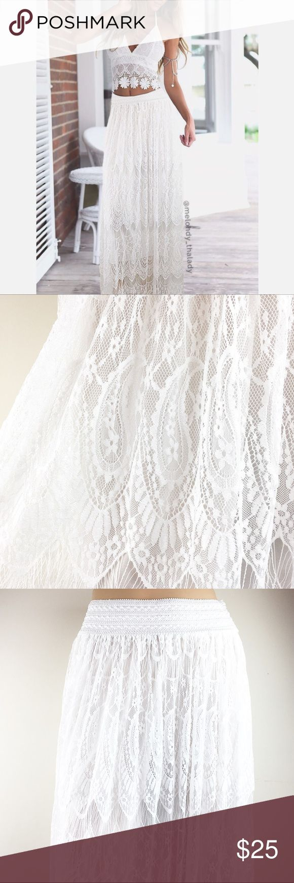 """White Lace Maxi Skirt White lace maxi skirt double layered. Skirt has a elastic waistband. Beautiful piece.   Measurements  Size M Length: 39.5"""" Waiter: 13"""" (stretches to 19"""")  Content  65% Cotton  35% Polyester   ▪️NWT No Trade Dresses Maxi"""