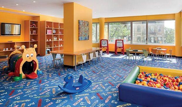 Interior ideas boys playroom designs with orange wall - Blue carpet decorating ideas ...
