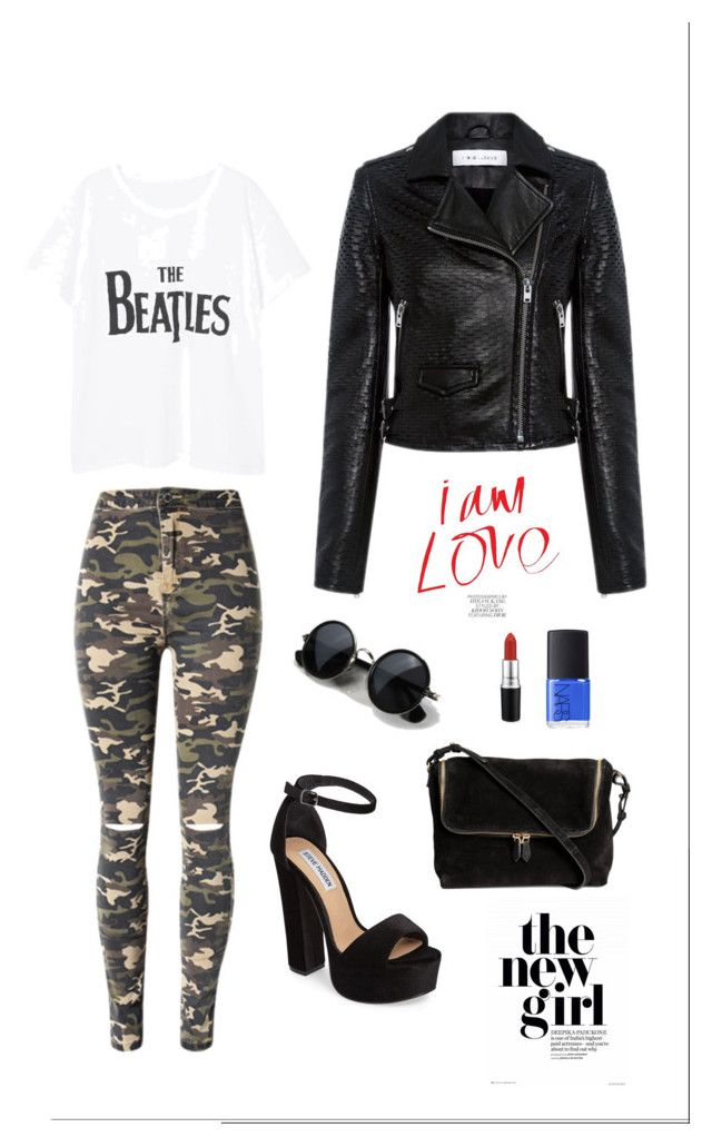 """""""Army Style"""" by chickandyan on Polyvore featuring WithChic, MANGO, IRO, Steve Madden, MAC Cosmetics and NARS Cosmetics"""