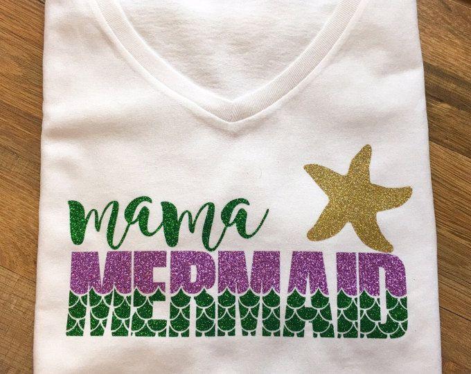 Mama Mermaid t-shirt, shirt, mom, women, Mommy and me, little girls mermaid first birthday party, shower gift, mermom, top, tee, t shirt,